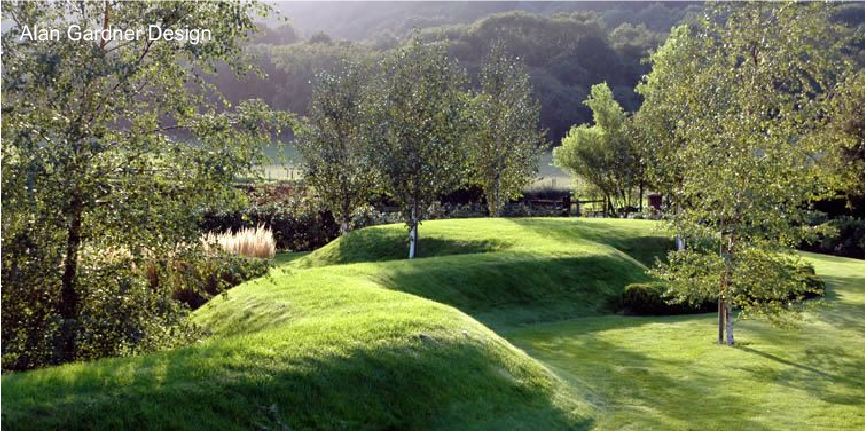 snaking grass mound by landscape architect alan gardner