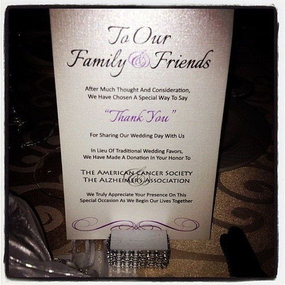 Wedding Favor Donation Card In Lieu of Favors