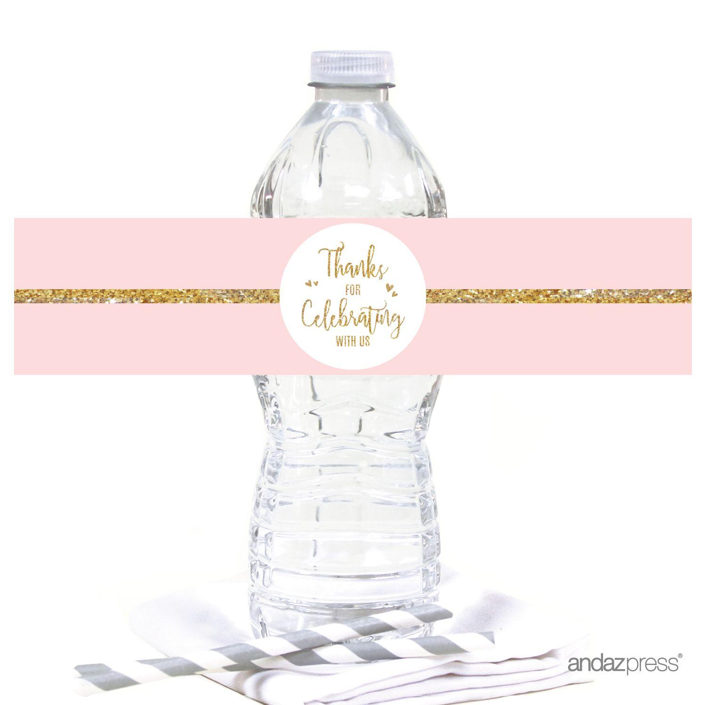 Blush Pink Gold Glitter Print Wedding Water Bottle Label Stickers