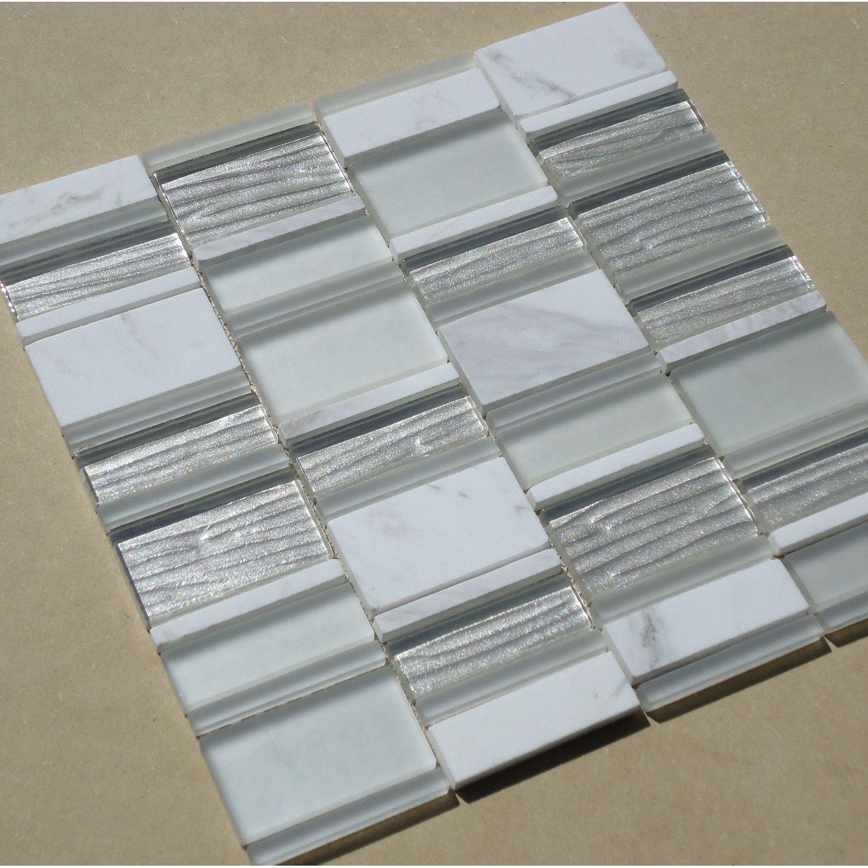 Mulia Tile Loft Random Sized Glossy Polished Marble And Glass