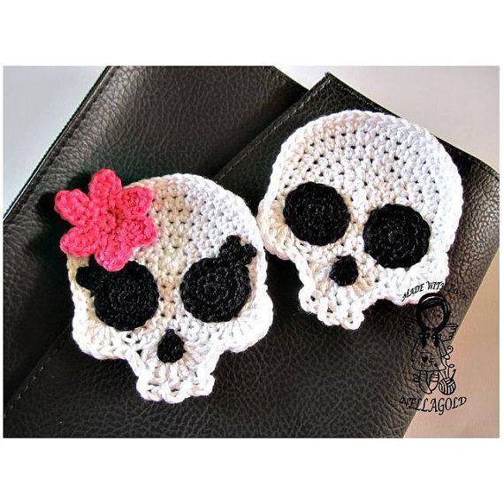 Crochet PATTERN Applique Skull Patch by NellagoldsCrocheting ...