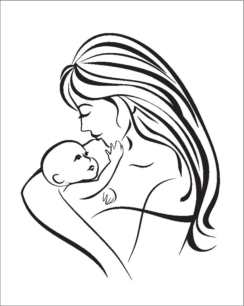 mother and her baby silhouette isolated vector symbol