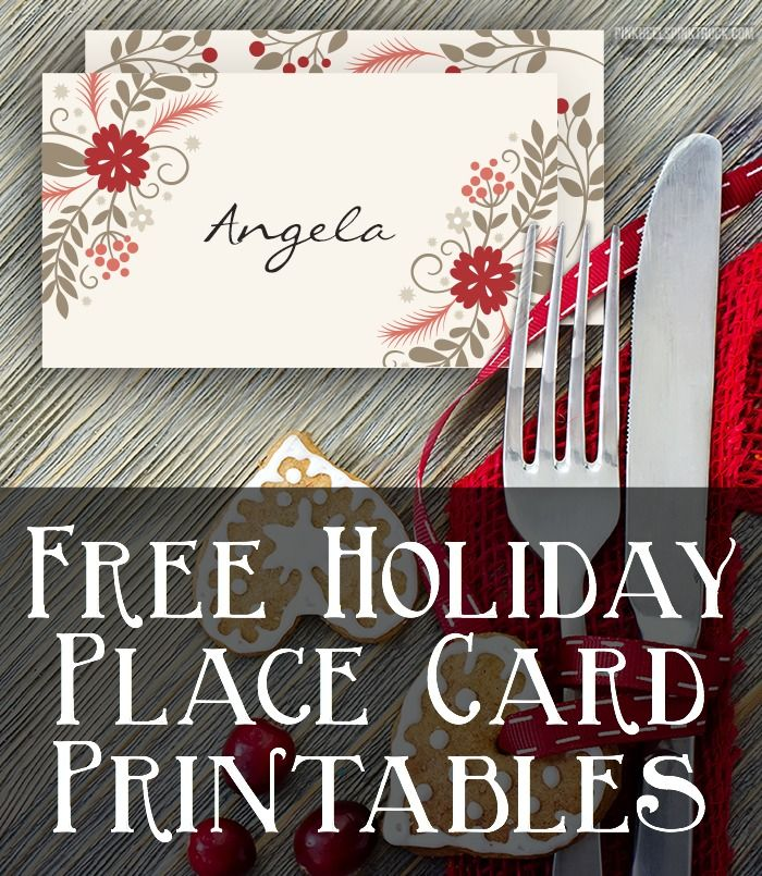 Free Christmas Printable Place Cards Printable Place Cards Free Christmas Printables Christmas Place Cards
