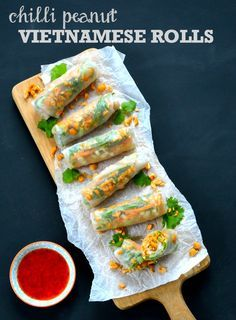 Chilli Peanut Vietnamese Rolls by The Veg Space blog.  A delicious and surprisingly quick and easy party nibble or starter.  Vegetarian and Vegan.