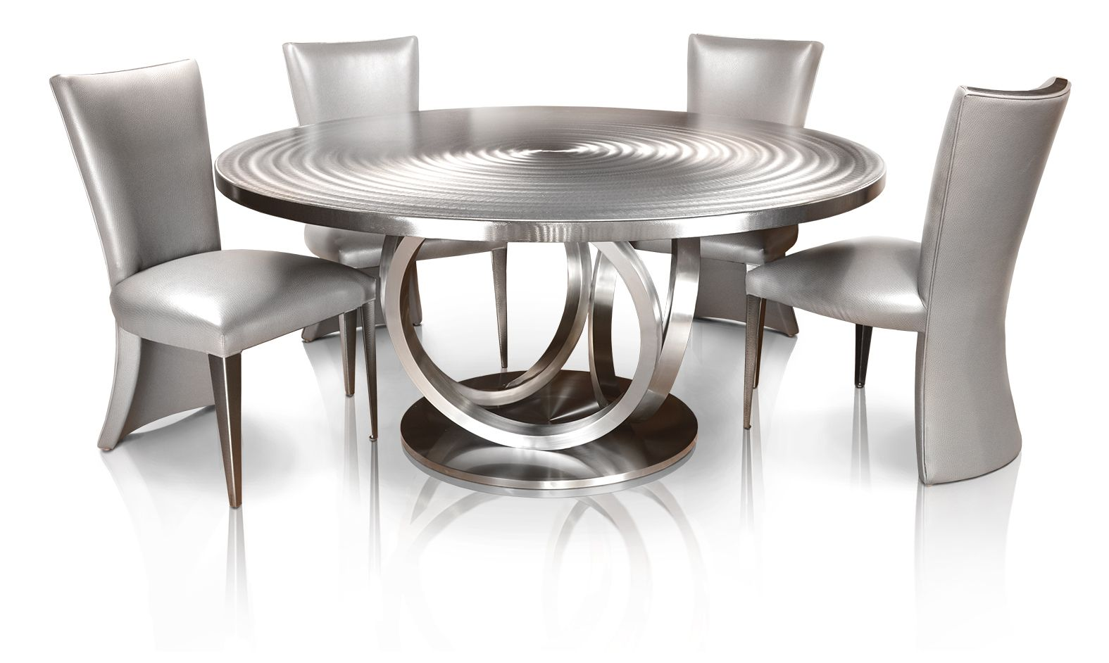 "66"" Round Stainless Steel Metal Dining Table by Oios Metals"
