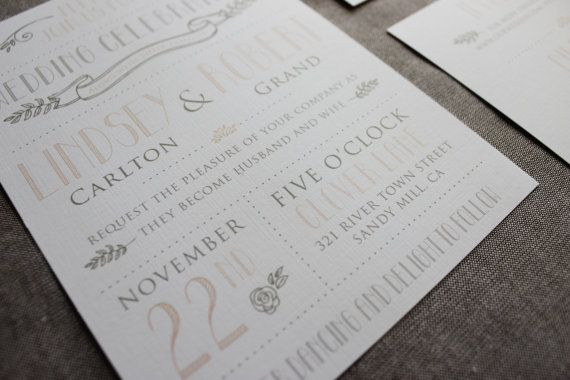 Vintage Modern Wedding Invitation Template -Printable DIY Wedding ...