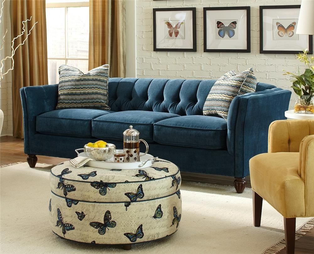 Chelsea Chesterfield Sofa By Craftmaster At Belfort Furniture Blue Sofas Living Room Blue Sofa Living Living Room Yellow Accents