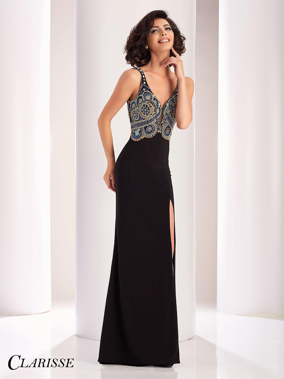 Clarisse Multicolor Beaded Black Prom Dress 4828