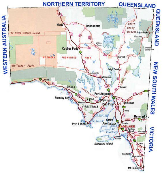 Southern Australia Area Map