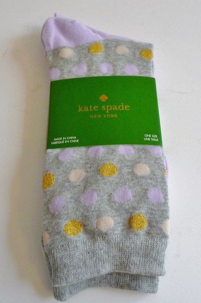 Kate Spade NWT Two Pair Gray Lilac Gold Trouser Socks One Size Nordstrom #KateSpade #TrouserSocks