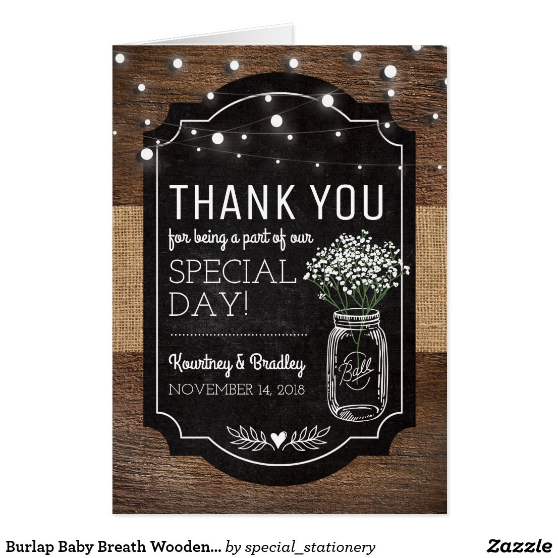 Burlap Baby Breath Wooden Wedding Thank You Card Rustic Country