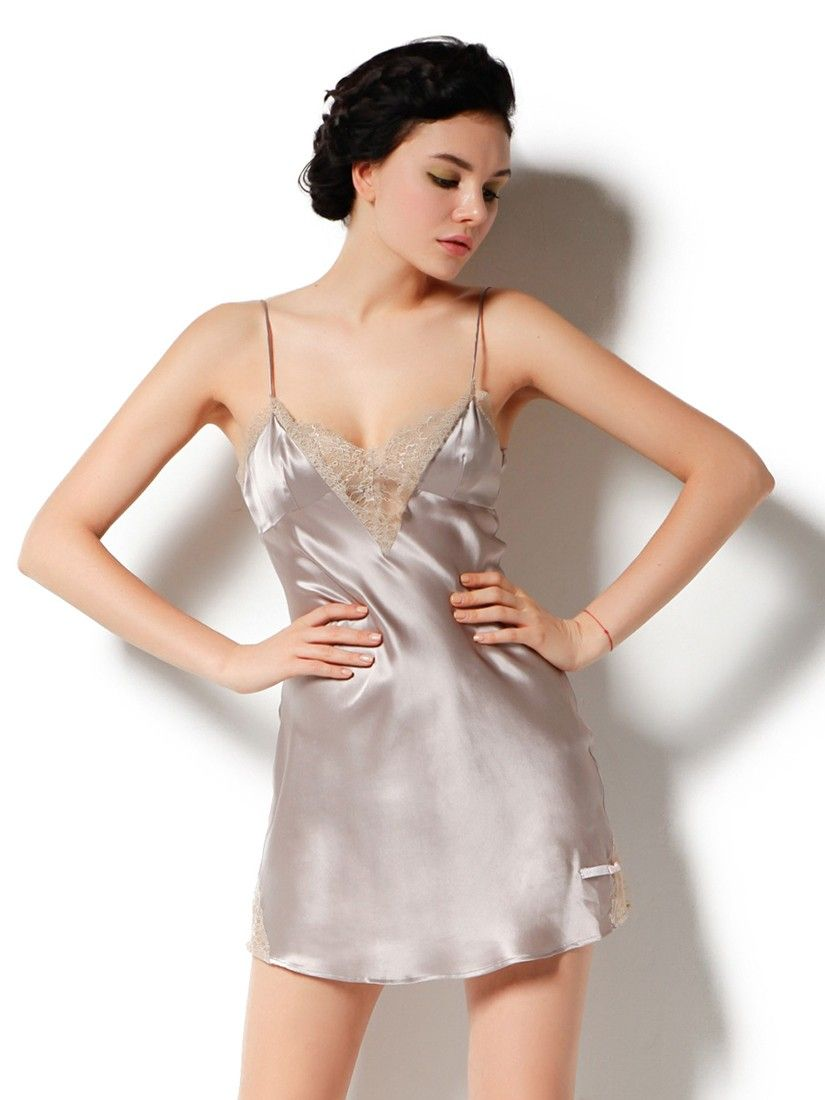 8efbef6a1d Sleep in style with the gorgeous and sexy lace trimmed silk slip.  silk   nightdress  sleepwear