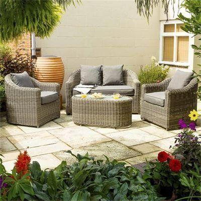 Rowlinson Rattan 4 Seater Bunbury Sofa Set Natural Garden Sofa