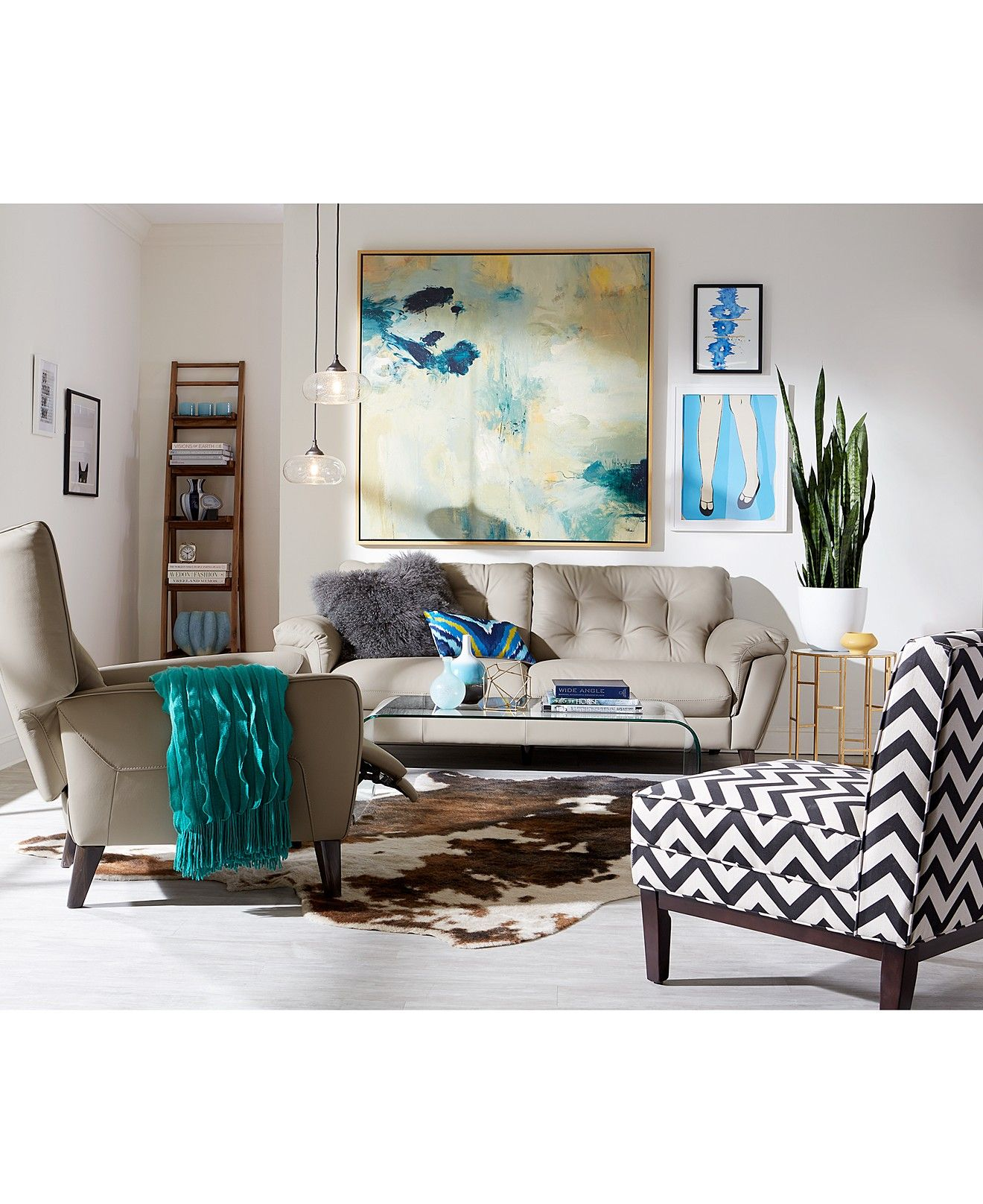 Giulia Leather Tufted Sofa Collection Furniture Macy S