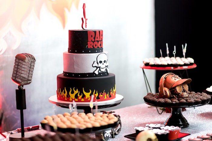rockin dessert table from a rock n roll birthday party on kara s party ideas karaspartyideas com 7