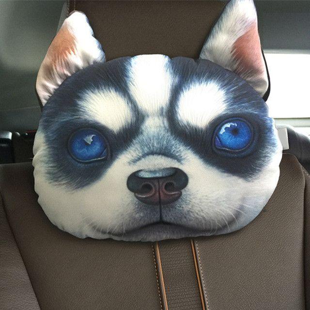 3d Printed Dog Face Car Seat Pillow Car Neck Pillow Headrest Lovely