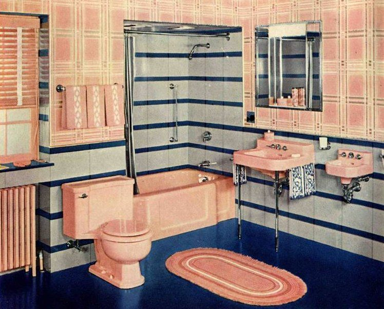 1940s decorating style jazz age hollywood glamour and 1940s for Bathroom ideas 1940
