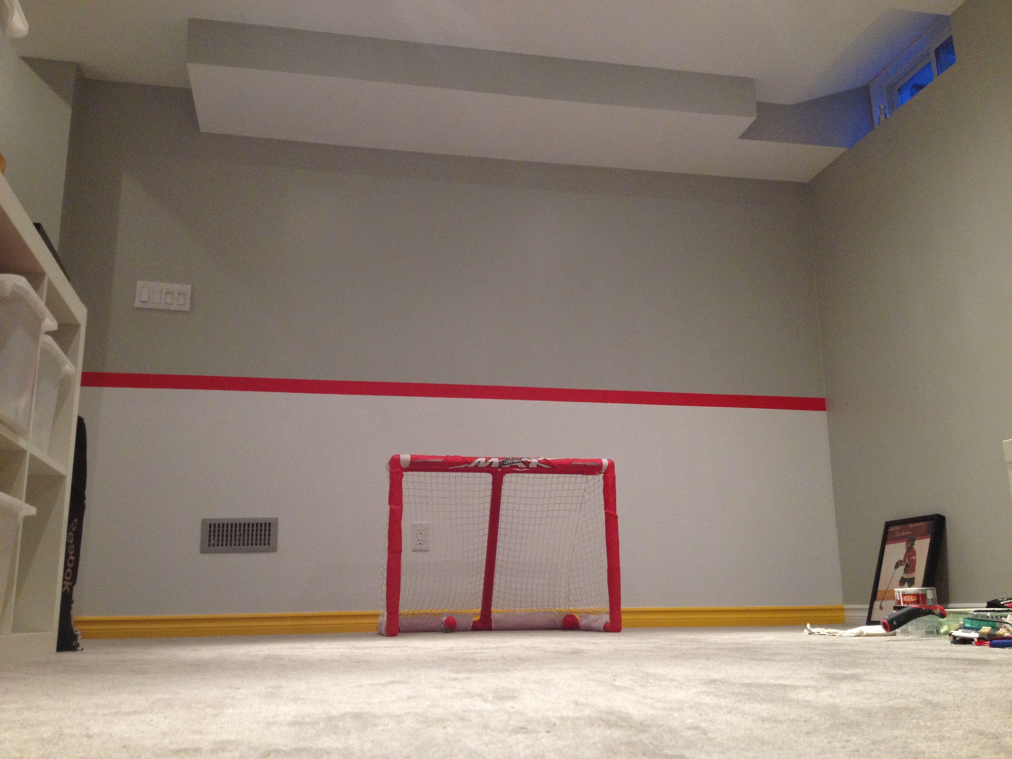 Kids Playroom Wall Painted To Look Like Hockey Rink Boards