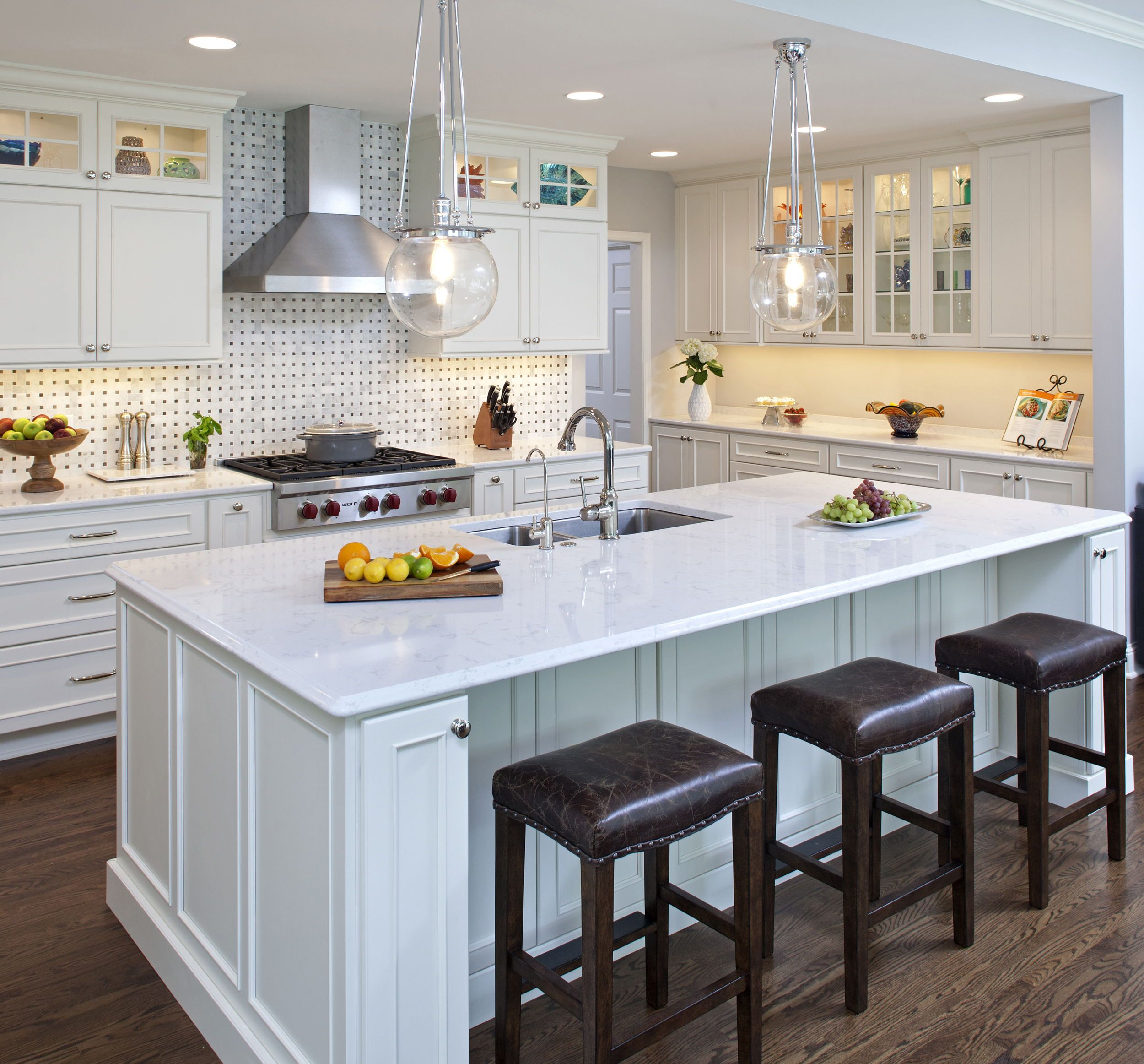 Bright White and Fun Kitchen Design This new construction home by