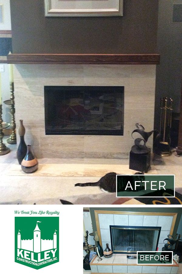 Before and after image of a #fireplace in Germantown Hills - the ...