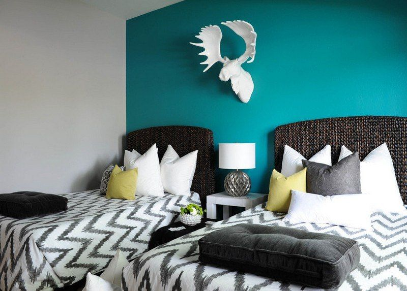 bleu turquoise et gris en 30 id es de peinture et d coration deco interieur pinterest. Black Bedroom Furniture Sets. Home Design Ideas