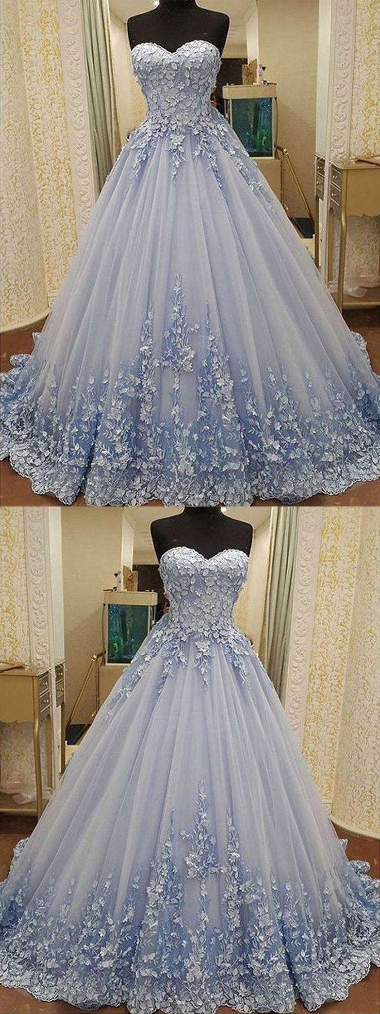 » Gorgeous Ball Gown Sweetheart Light Blue Lace Long Prom Dresses with Appliques, Luxurious Quinceanera Dresses #bluepromdresses