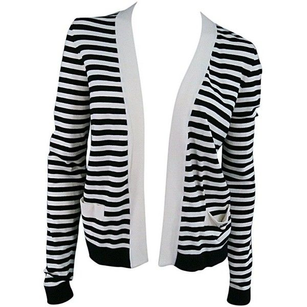 Preowned Chanel Size 6 Cream/black Striped Cardigan (28.410 RUB) ❤ liked on Polyvore featuring tops, cardigans, sweaters, jackets, outerwear, grey, striped cardigan, cream top, stripe top and grey knit cardigan