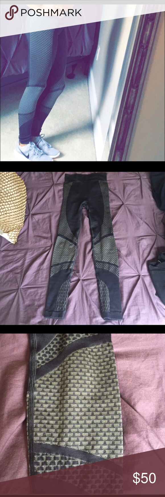 Lululemon Leggings **this is a re-post from another posher, I recently lost weight and I thought I could fit them but they're a little too big!** these are SUPER cute and very comfortable. Great for working out or just for running errands. The material is a little thicker and they are full-length, high-waisted. lululemon athletica Pants Leggings