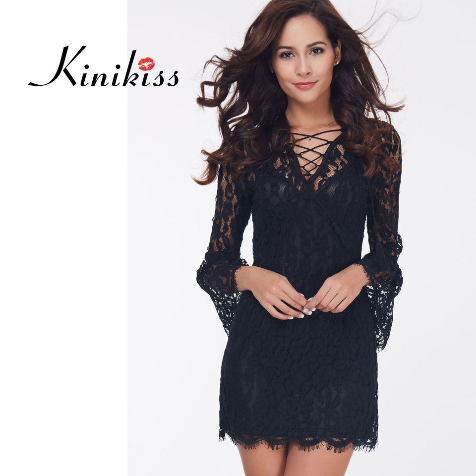 Kinikiss 2017 women club dress summer solid black lace wrist flare