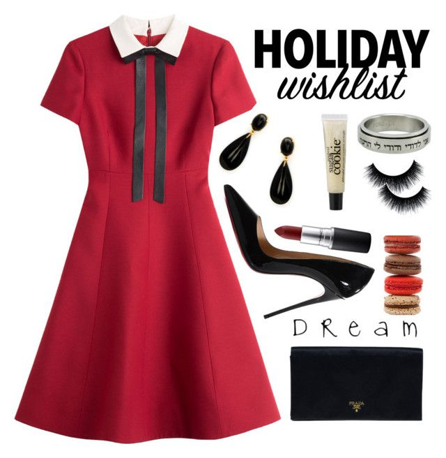 Christmas Party/Holiday Wishlist by jaimiee-rita on Polyvore featuring Valentino, Christian Louboutin, Prada, philosophy and MAC Cosmetics