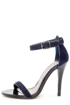 cb9ddbf73 My Delicious Chaney Navy Blue Suede Ankle Strap Heels