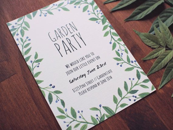Digital Garden Party Invitation Printable Party Invite Party