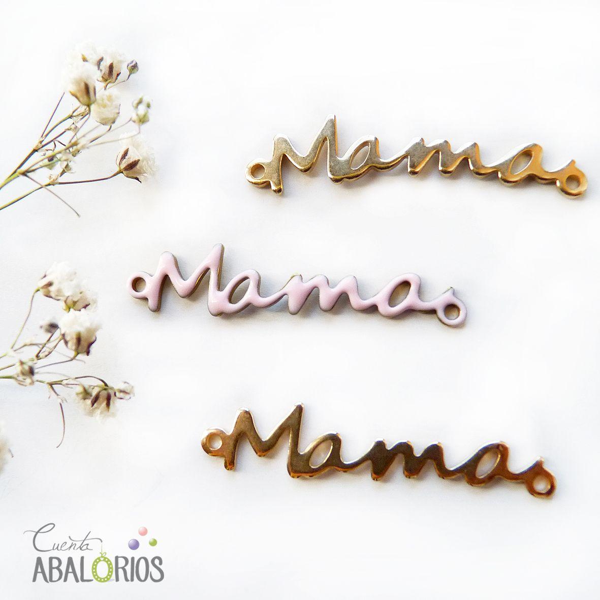 """Conectore """"mama"""" que encontrarás en nuestra tienda www.cuentabalorios.com. Con flash en Oro y resina rosa. #diadelamadre #mama #madre"""