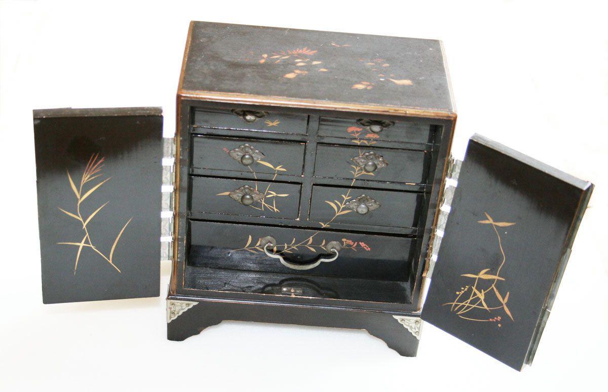 Art Deco Chinese Jewelry Cabinet 1920 1930 Chest Edwardian Birds Nouveau Japanese Miniature Box Asian Aesthet Jewelry Cabinet Chinese Jewelry Dresser Drawers