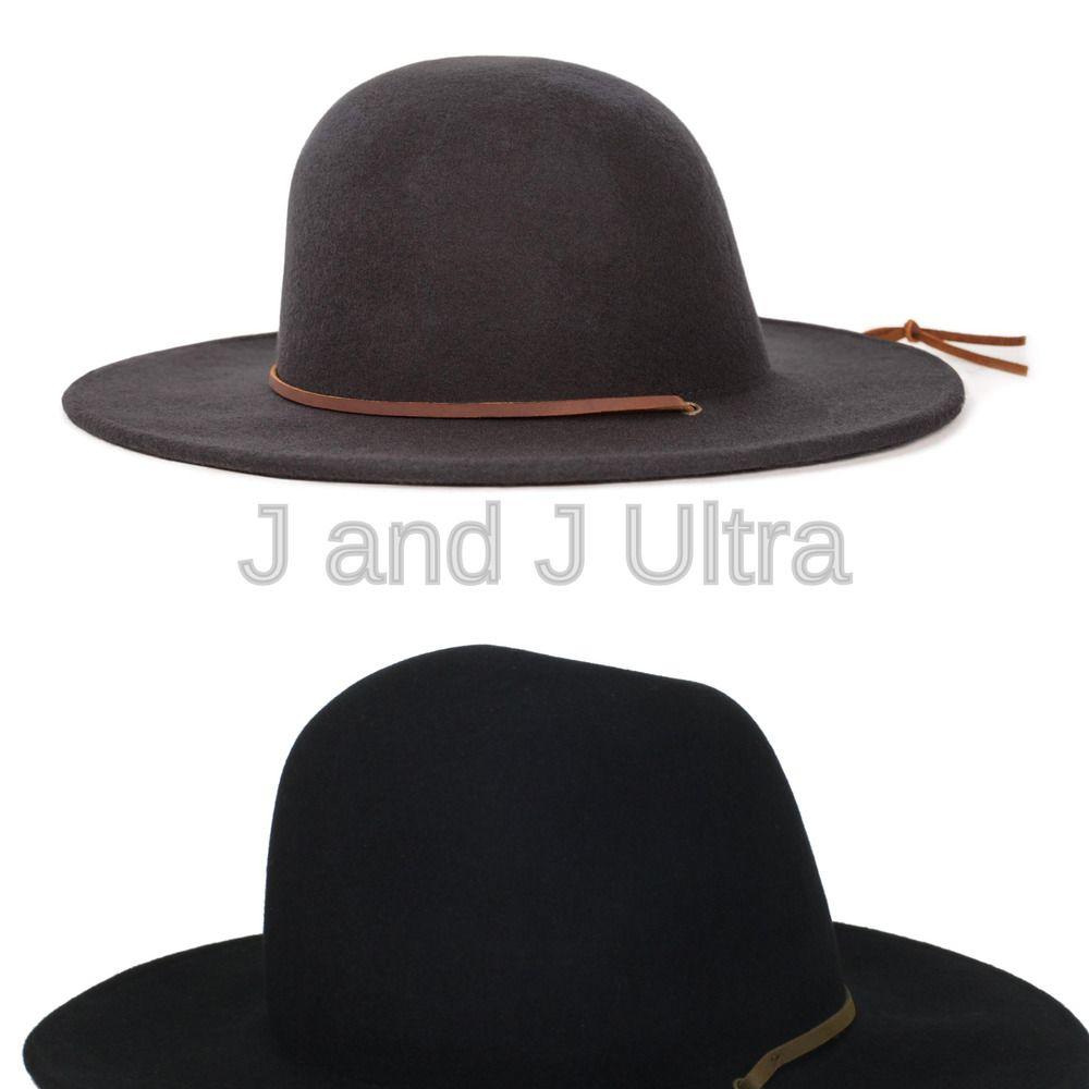 Brixton Men/'s Tiller Wide Brim Felt Fedora Hat black Large