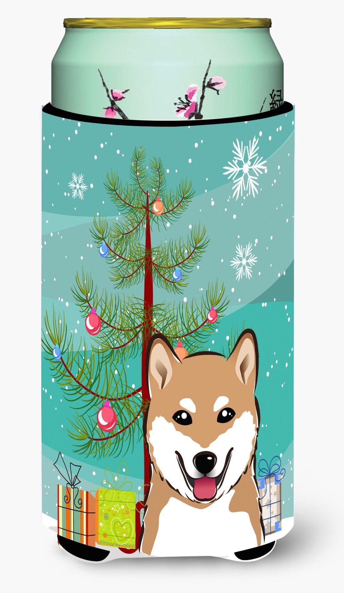 Christmas Tree and Shiba Inu Tall Boy Beverage Insulator Hugger