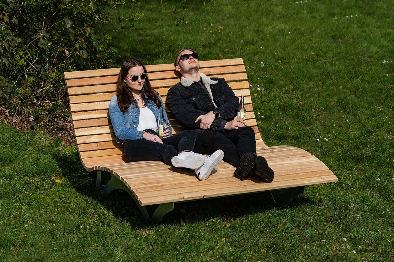 Leco Doppelliege Stahl Textil Beige Mit Bildern Doppelliege Sonnenliege Garten Kaufen