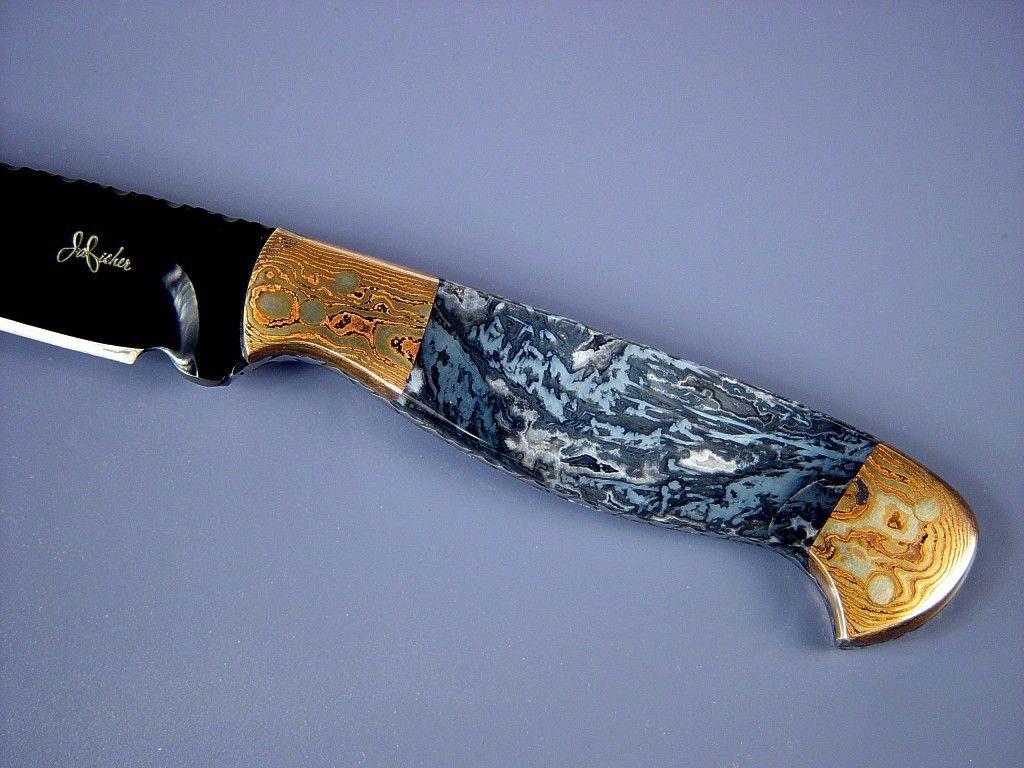 Custom knives handmade knife handle of tarazed in moss agate and mokume gane