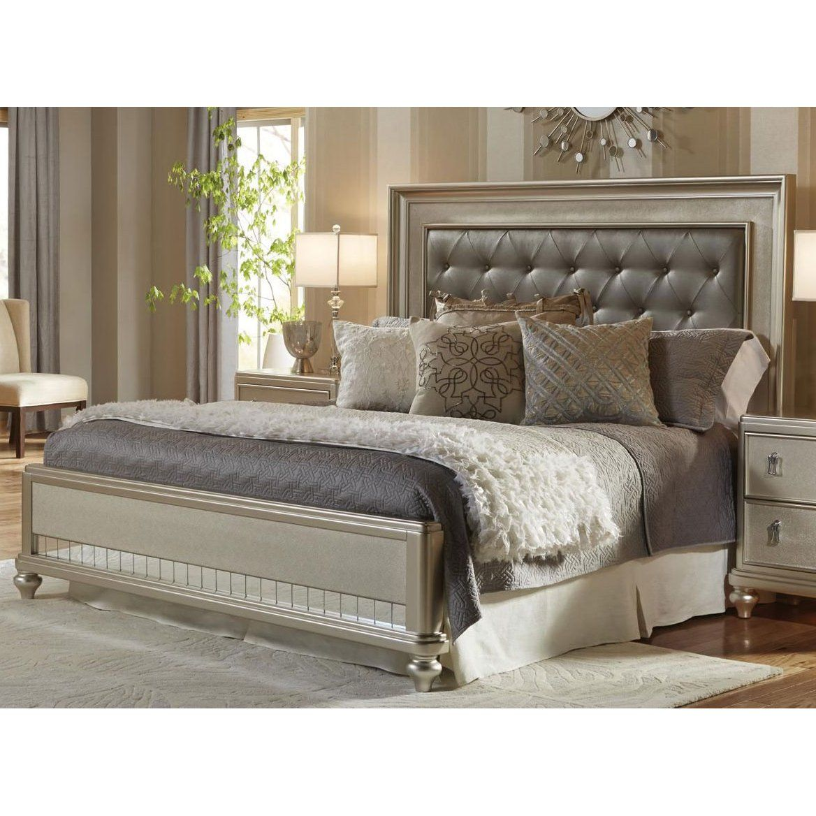 Traditional Champagne King Size Bed Diva RC Willey