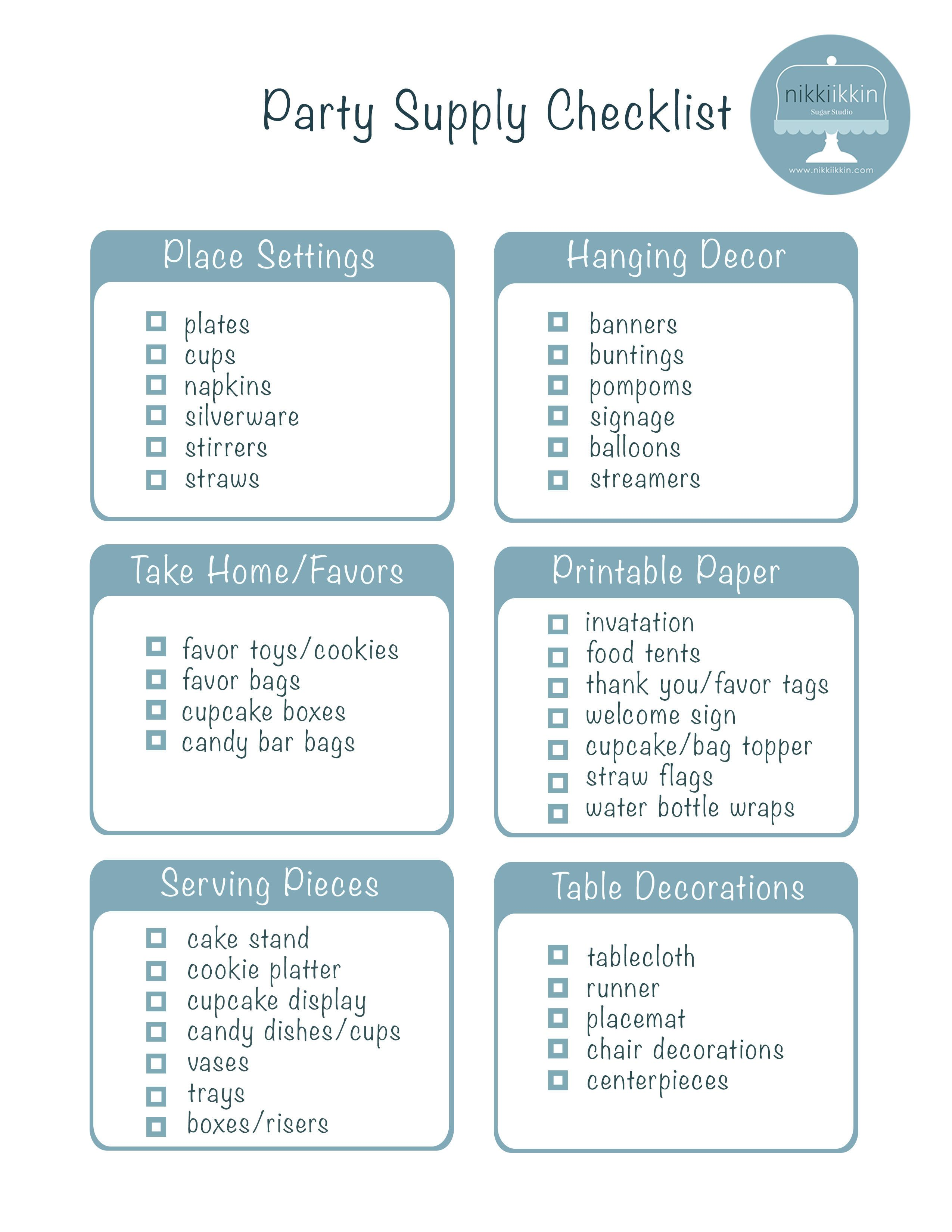 party supply checklist | Tag Archives: party checklist | shower in a ...
