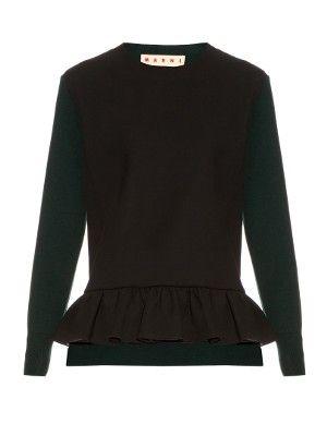Long-sleeved ruffled-hem wool-blend sweater   Marni   MATCHESFASHION.COM UK