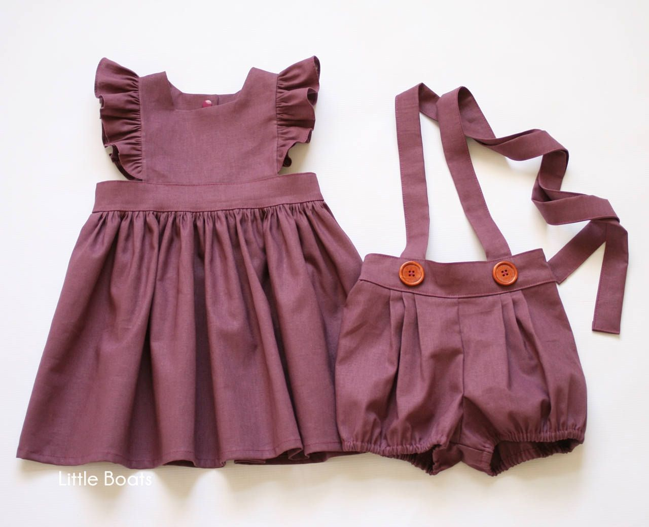 Plum Linen Pinafore Dress – Classic Vintage Boho Baby Toddler Spring Easter Thanksgiving Halloween Wedding Matching sister Dark Purple