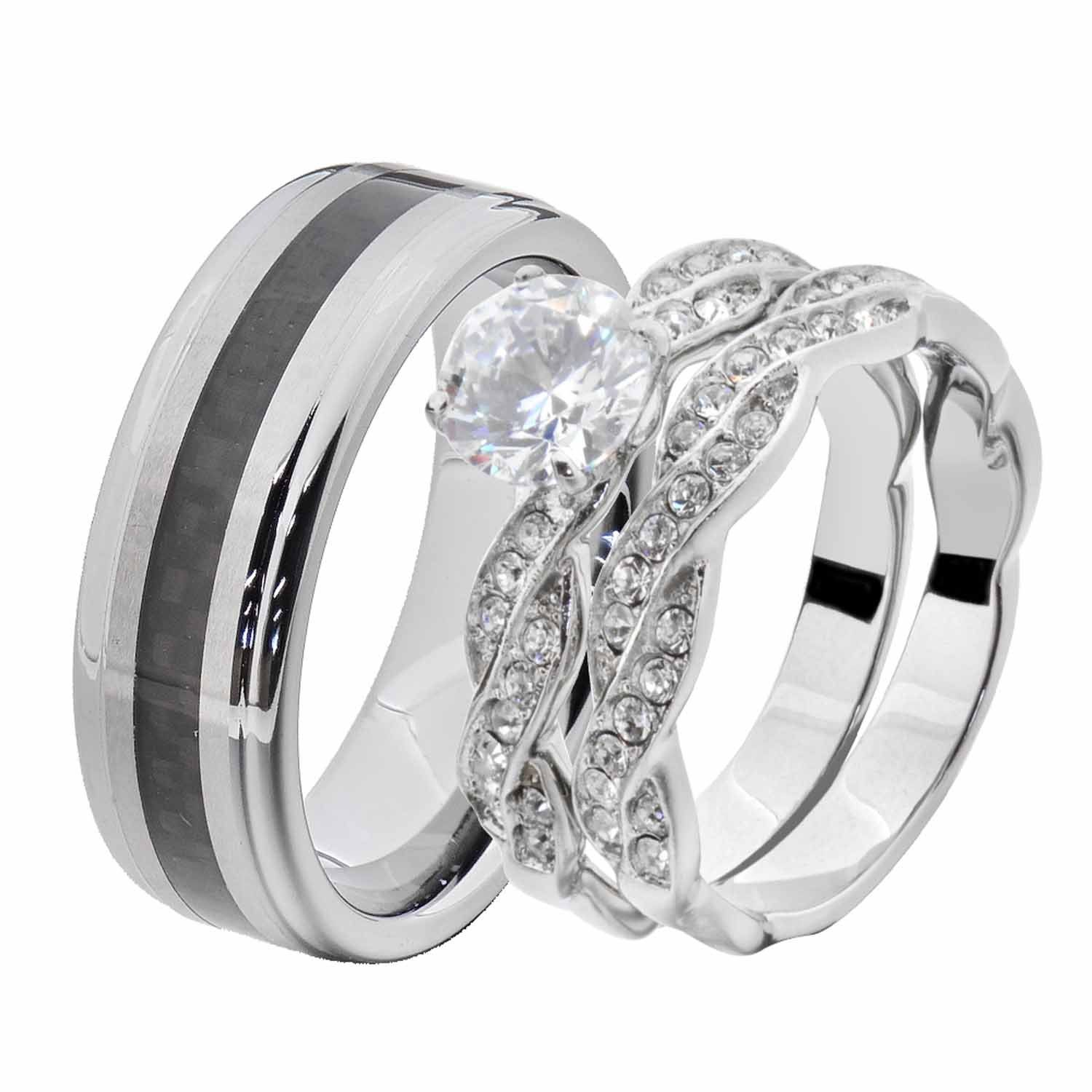Flamereflection His And Hers Wedding Ring Sets White Stainless