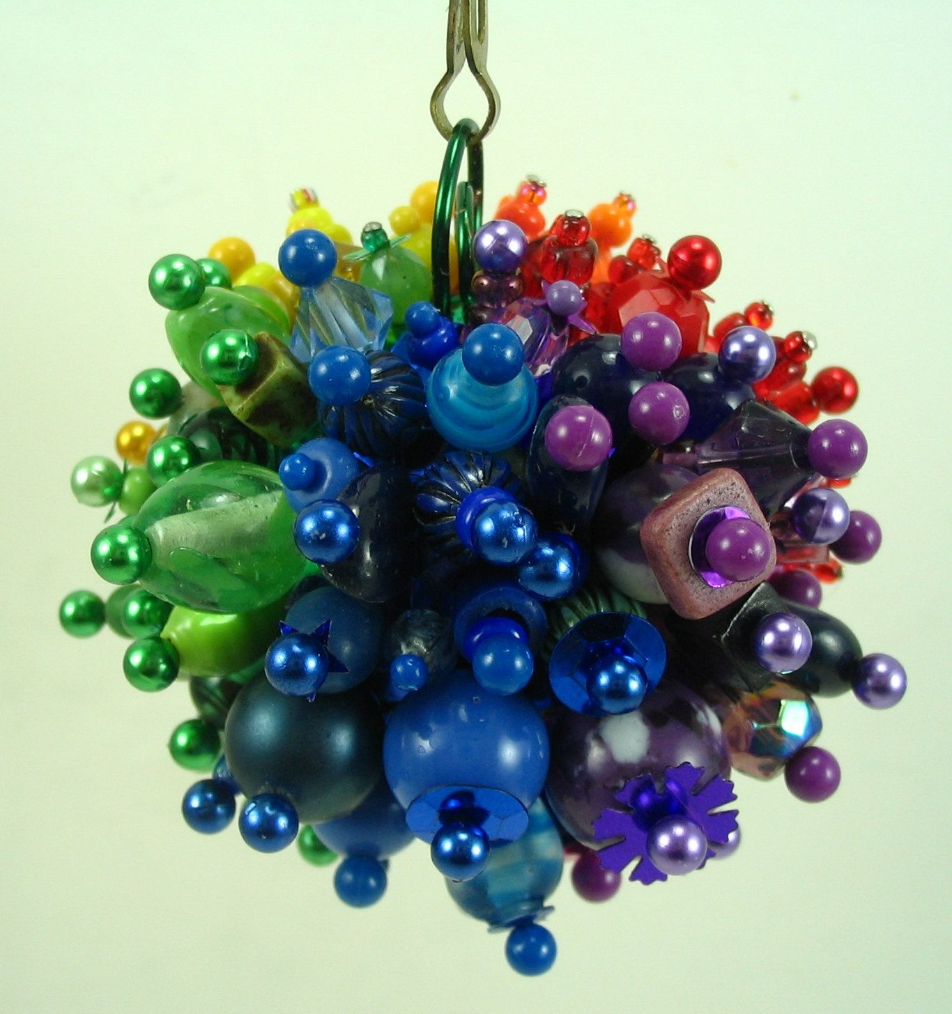 Funky Rainbow Beaded Christmas Ornament Ball And Chain Hanging Decoration
