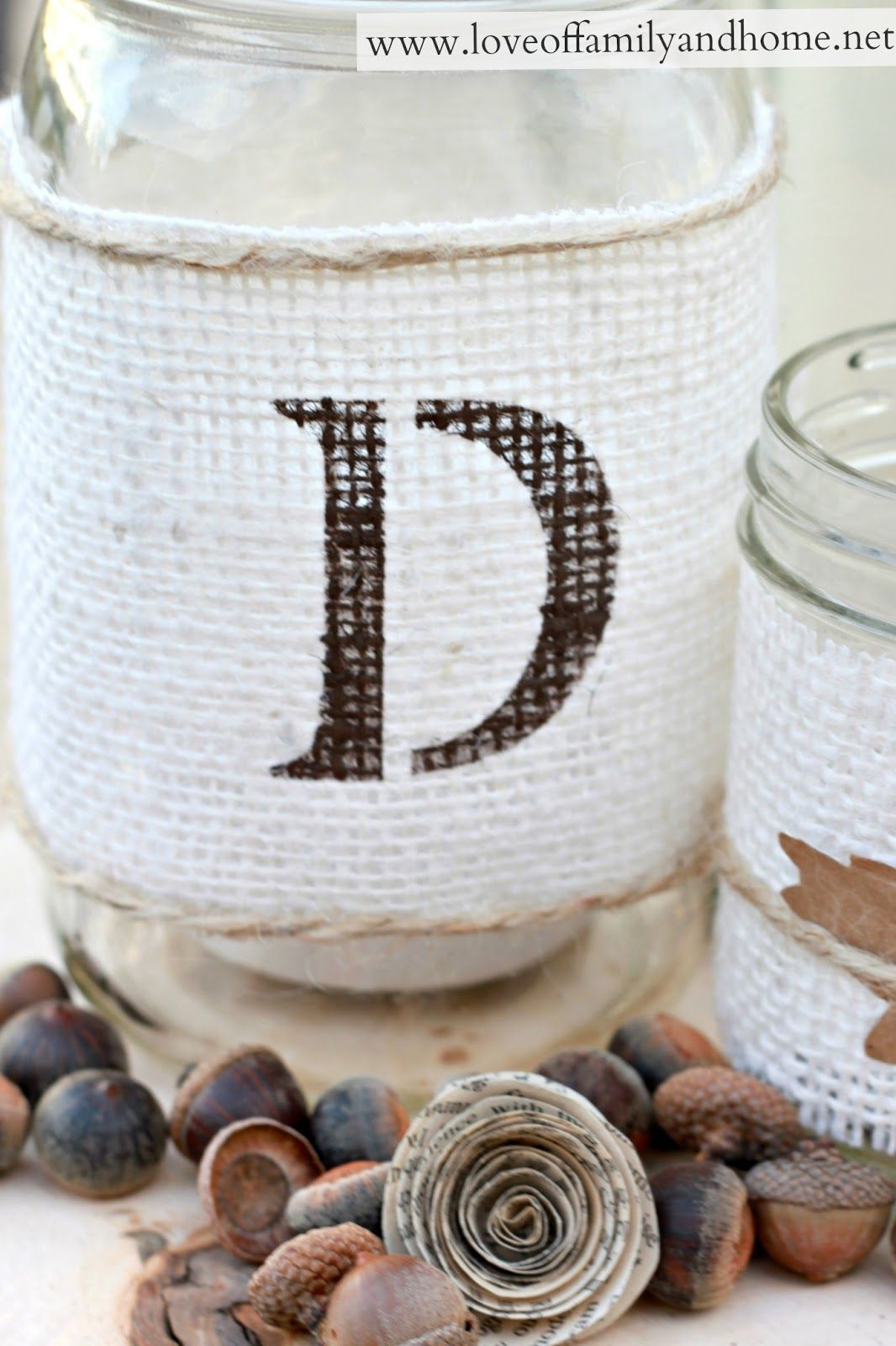 stencil burlap wrap with jute string then wrap around mason jar. add ...