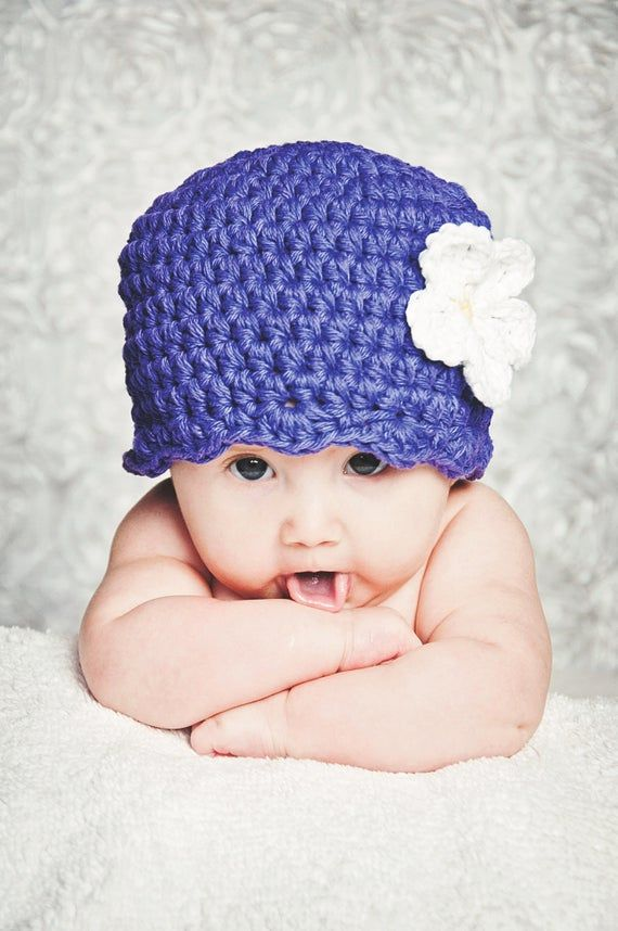 6 to 9 month baby girl hat, purple baby beanie, crochet flower hospital hat
