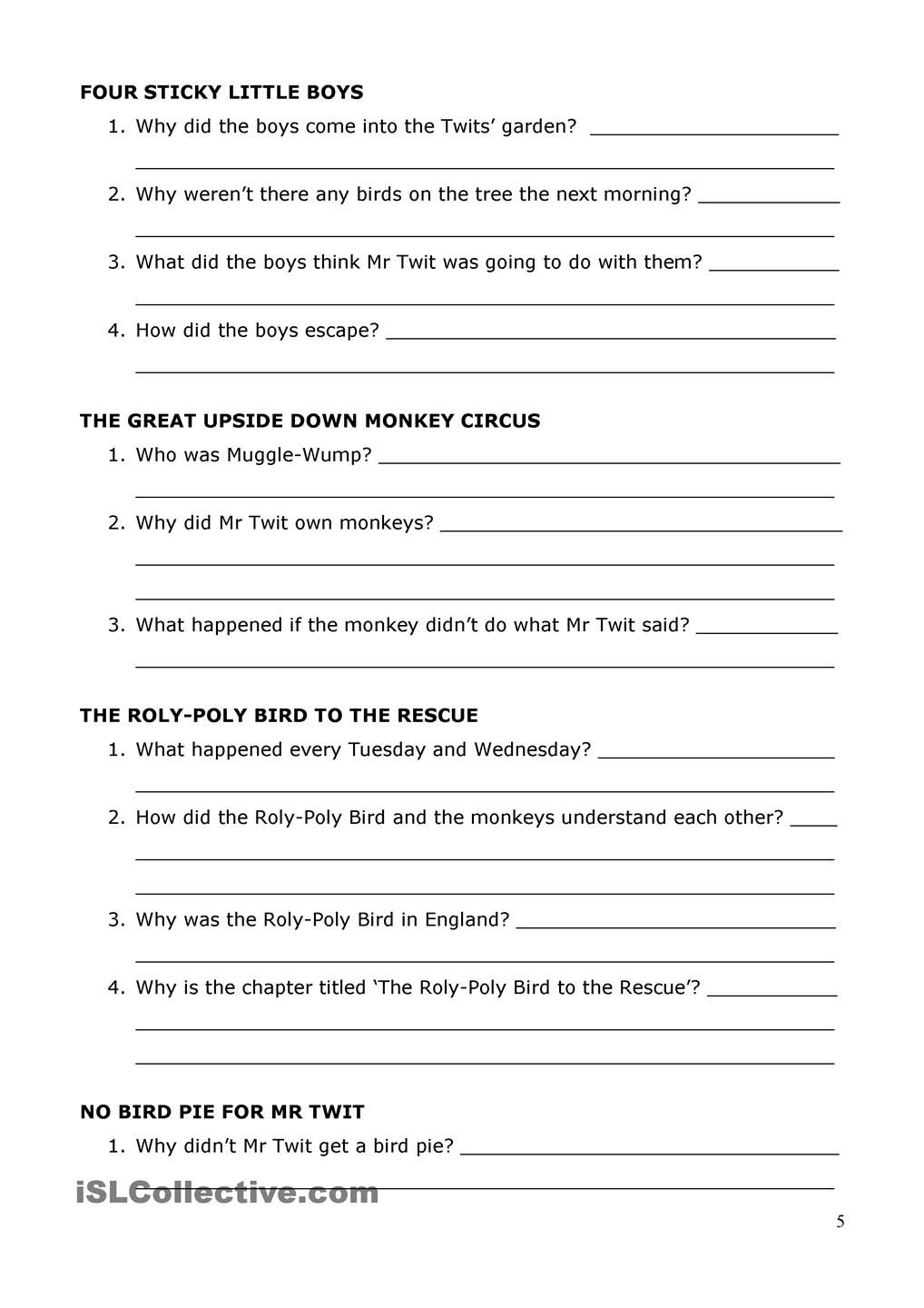 The Twits by Roald Dahl Reading Comprehension | education | Pinterest