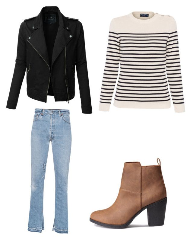"""""""Little stripped"""" by borghesecaroline ❤ liked on Polyvore featuring RE/DONE, LE3NO, Saint James, stripes, flare and Sweatshirt"""