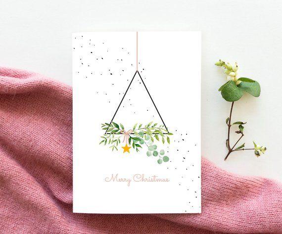 Ähnliche Artikel wie Weihnachtskarte Kranz Dreieck, Weihnachtskranz Karte, Aquarell Zweige Weihnachtskarten, Weihnachtsschmuck, Weihnachtskarte moderner, stilvoller sauber hip Weihnachtskarte auf Etsy