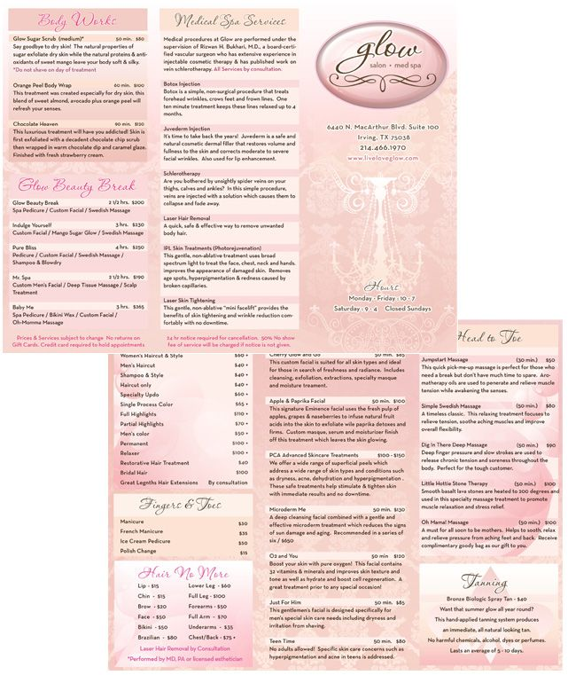 Medical Spa Brochure Design - GLOW SPA    liveloveglow - spa brochure